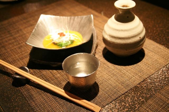 錫製和食器【高台付角深鉢】